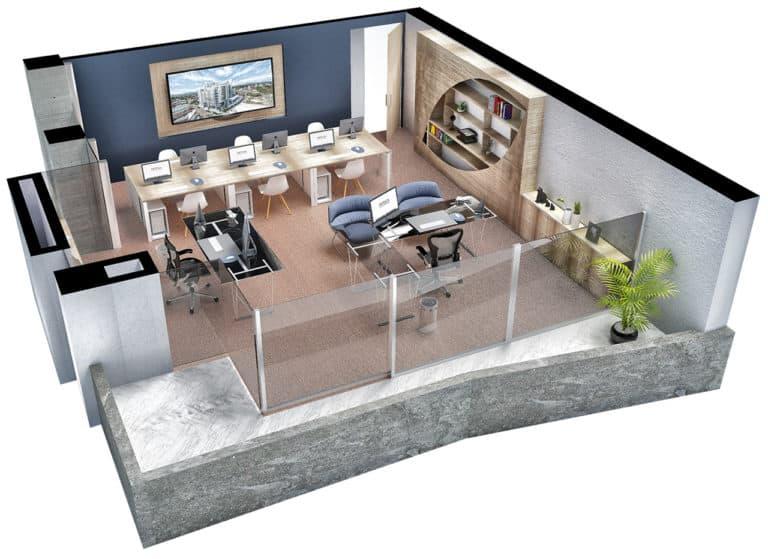 Plano planta oficina tipo 1 Centro empresarial Potenza