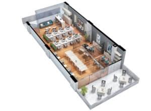 plano isometrico oficina tipo 3 centro empresarial potenza
