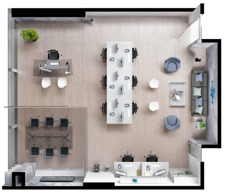 Plano planta oficina tipo 2 Centro empresarial Potenza